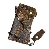 Portefeuille Long en Cuir véritable pour Hommes avec Poche à Fermeture à glissière Vintage Bifold Checkbook Purse (Brown 1)