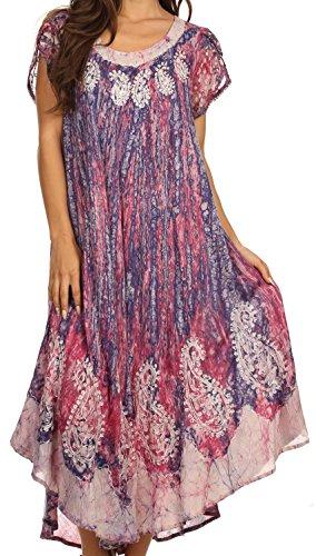 Sakkas Bree, Vestido Largo Jaspeado Bordado con Mangas Cortas-Rosa Hibisco-OS