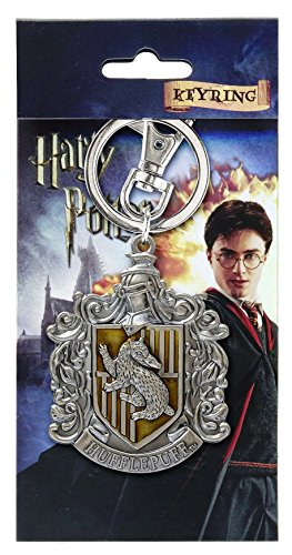 Harry Potter Hufflepuff School Crest Pewter Keychain,Multicolor