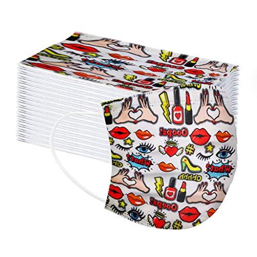 LUCKME 50 Stück Mundschutz 3-lagig, Halloween Kürbis Druck Einmal Atmungsaktive Mund_und Nasenschutz Halstuch Multifunktionstuch für Damen