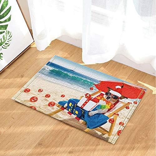 /N Perro de Navidad de Verano con Caja de Regalo Cortina de baño Tela de baño y 12 Ganchos