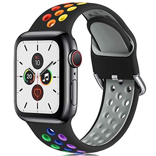 CeMiKa Correa Compatible con Apple Watch Correa 38mm 40mm 42mm 44mm, Suave Silicona Deporte Correa con Compatible con Apple Watch SE/iWatch Series 6 5 4 3 2 1, 38mm/40mm-S/M, Negro/Colorido