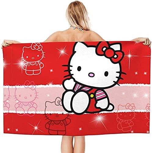Hello Kitty - Toalla de playa grande para niños, 80 x 130 cm, absorbente, diseño de Hello Kitty, 1,70 x 140 cm