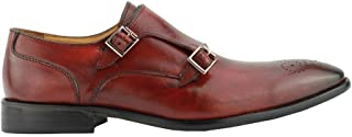 Mens Real Leather Red Maroon Double Monk Strap Buckle Smart Casual Shoes Loafer