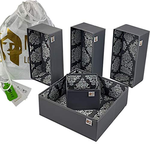 Metis London Ltd Set of 5 Drawer Organisers, Made from Recycled Plastic Bottles & Packaged in Dupont Tyvek Drawstring Bag