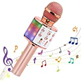 LHZTZKA Micrófono inalámbrico Bluetooth Karaoke portátiles Altavoz Máquina de Karaoke con Luces LED Que Bailan, Reproductor de KTV para el hogar Dispositivos compatibles para Fiestas/Canto de niños