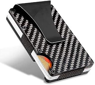 HALOViE Cartera Tarjeta de Crédito Tarjetero RFID Bloqueo Fibra de Carbono y Clip para Dinero Hombres y Mujeres Pequeña Aleación de Aluminio hasta 12 Tarjetas (Crédito) Protección