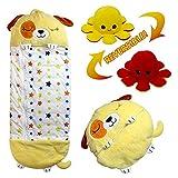 LUOWAN Saco de dormir para niños con dibujos animados, puede convertir las divertidas almohadas 2 en 1 en sacos de dormir, ideal para niños menores de 12 años(perro amarillo grande,155 x 50 cm)