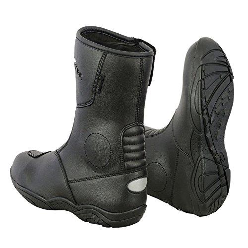 REXTEK, Stivali da Moto Impermeabili in Pelle da Motociclista, Scarpe da Turismo, Neri, con Marchio CE, per Uomo