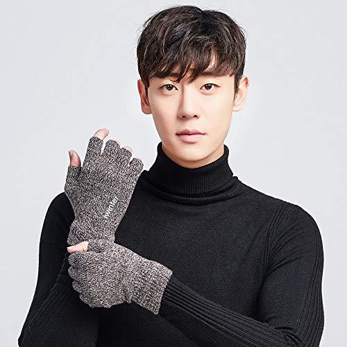 WSKTRB Gestrickte Handschuhe,Winter Fashion Halben Finger Handschuhe Für Männer Und Frauen Paare Fingerlose Plus Samt Warme Outdoor Sport/Weiße Handschuhe