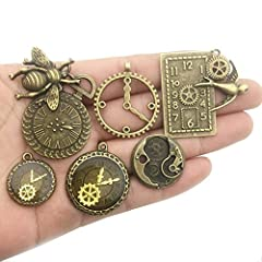 YoudiylaUK 30 pcs Mixed Antique Bronze Watch Clock Face Gear Steam Punk time Charms Pendants DIY Necklace Bracelet Pendants for Jewelry Making M71 #1