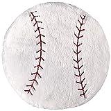ChezMax Cute Plush Decorative Round Throw Pillow Home Office Sofa Stuffed Toys Back Cushion Creative Doll White Baseball 14''