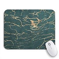 NINEHASA 可愛いマウスパッド ノートパソコン、マウスマット用のリッチなノンスリップラバーバッキングマウスパッドに重ねられたローズゴールドの抽象的なひびの入った大理石