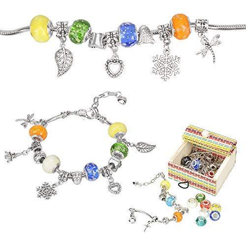 Sun studio Kit Bijoux de Bracelets à Breloques,Coffret Cadeau Bijoux Chaînes Serpents Plaquées Argent et Perles pour Filles Ados,en Acier plaqué Argent (Lumineux)
