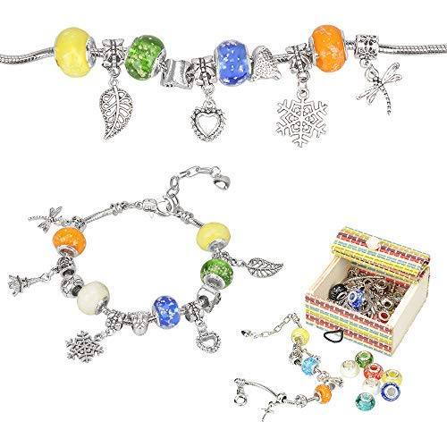 Sun studio Jewellery Making Kit, Bracelet Making Kits with Coloured Bead Silver Plated Snake Chain, Arts and Crafts Sets for 8-12 Years Old Teenage Girls Gifts