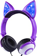 LOBKIN Foldable Wired Over Ear Kids Headphone with Glowing Light for Girls Children Cosplay Fans,Cat Ear Headphones (Purple)