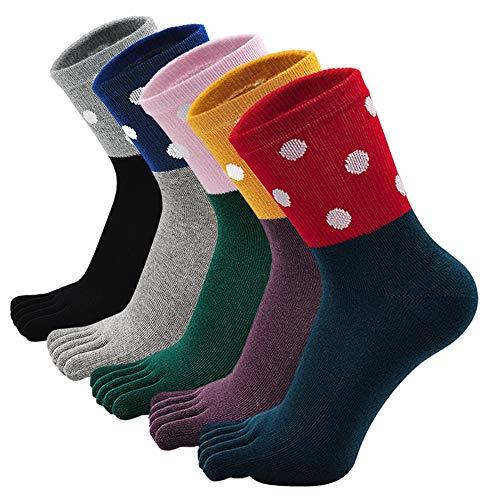 PUTUO Calcetines de Dedos Mujer Calcetines Cinco Dedos de Deporte, Mujer Calcetines del Dedo del Pie, Calcetines de Algodón, suave y transpirable, 4/5 pares (multicolor 1-5 pares, EU 36-41)