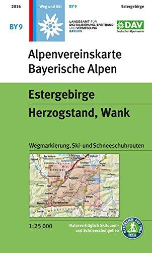 Estergebirge, Herzogstand, Wank: Topographische Karte 1:25.000, mit Wegmarkierungen, Skirouten, Schneeschuhrouten (Alpenvereinskarten)