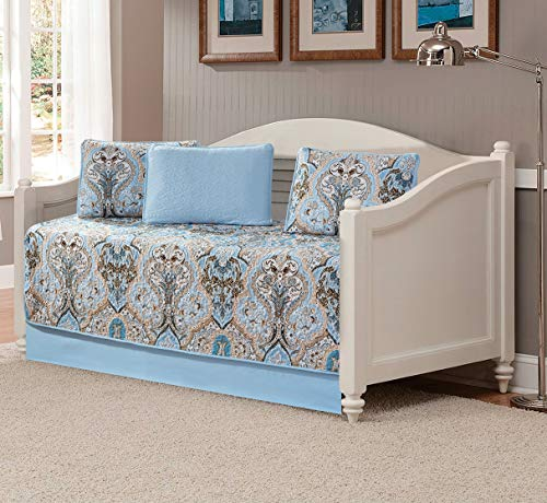 Better Home Style 5 Piece Daybed Luxury Lush Soft Blue Taupe Motif Ornamental Floral Printed Design Coverlet Bedspread Bed Cover Quilt Set # 3562 (Blue, Daybed)