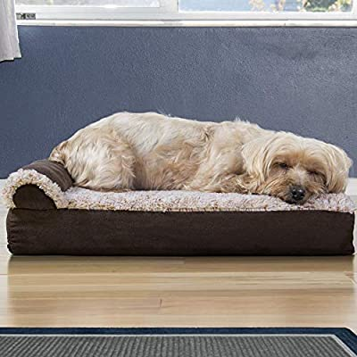 Furhaven Pet Dog Bed | Ergonomic Contour Lounger & Therapeutic Sofa-Style Living Room Couch & Pet Bed w/ Removable Cover for Dogs & Cats - Available in Multiple Colors & Styles