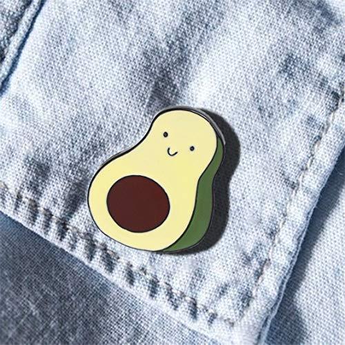 KUHRLRX Avocado Brooch Novelty Cartoon Enamel Lapel Pin Cute Lightweight Clothes Pin Badge Scarf Decor Accessory