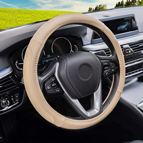 Magnelex Microfiber Leather Steering Wheel Cover – Beige. Heat Resistant Anti-Slip Car Wheel Wrap - Compatible with Most Makes and Models of Cars and Trucks with 14.5 to 15 Inch Steering Wheels