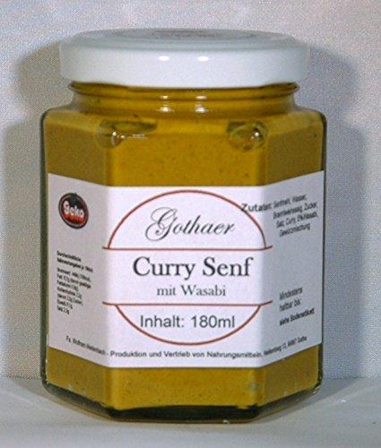 Original-Gothaer-Senf im Sechseckglas a´180ml - OVP - in Varianten (Curry-Senf mit Wasabi)