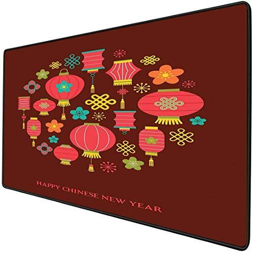 Mouse Pad Gaming Funktionale chinesische Neujahrsdicke wasserdichte Desktop-Mausmatte Bunte festliche Feier Ikonen Laternen Knoten Blumen Asiatische Kultur, mehrfarbige rutschfeste Gummibasis