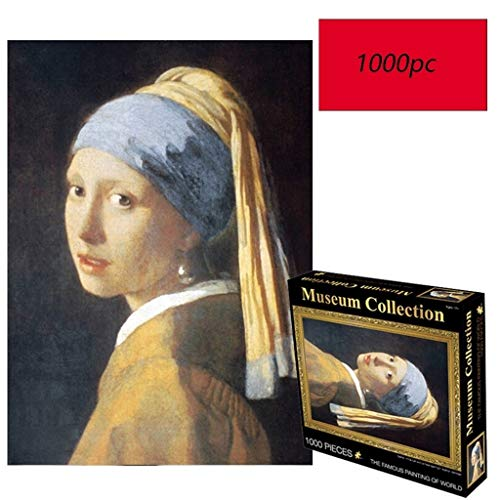 WUJINJ Romantisch Meisje Met Parel Oorbellen, Johannes Vermeer van Delft, wereldberoemde schilderij puzzel, 1000 Tabletten Pieces Boxed Fotografie Toy, volwassenen & Kids puzzel Toy