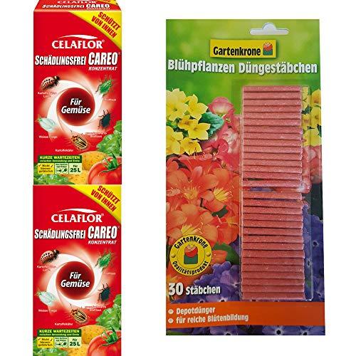 hagebauSPN 500ml Schädlingsfrei Careo Konzentrat Gemüse + 30er Gartenkrone Düngestäbchen