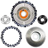 """CZS Woodcarving Disc 4/4.5 Inch Angle Grinder Wheel Disc Woodworking Circular Chain Saw Blades and Coarse Disc for 100/115 mm Angle Grinder,22 Teeth,5/8"""" Arbor(Replacement Chain Included)"""