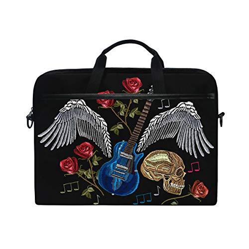 Ahomy - Bolsa para portátil de 13,3 a 14 pulgadas, diseño de calavera con alas de guitarra, rosa y música rock portátil con correa ajustable para el hombro