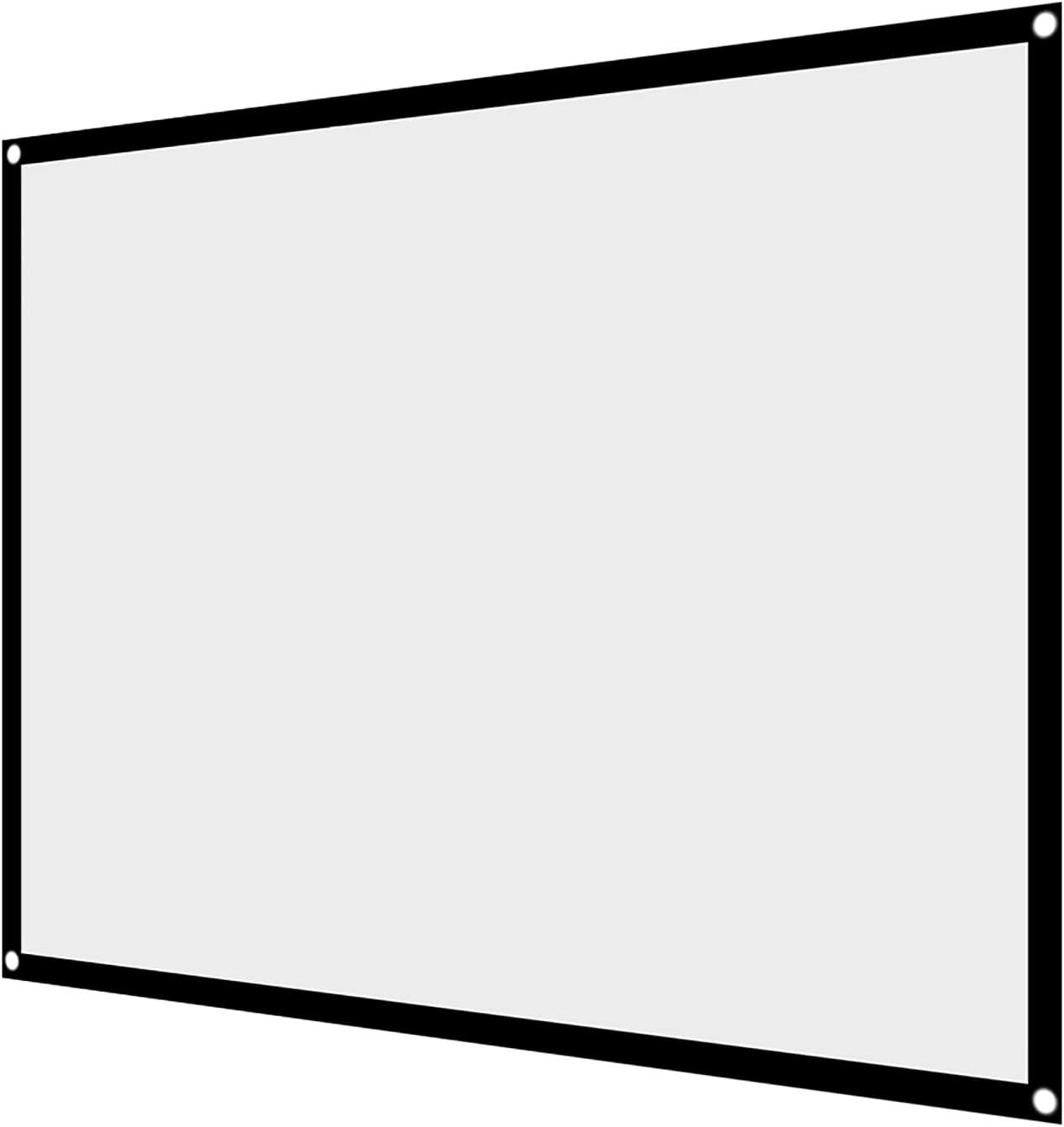 menfad Projector Screen, 60-100 Inch Portable Foldable Non-Crease White Projector Curtain Projection Screen 4:3, Materials/with Hanging Holes/Support Forward or Reverse Projection(72 inches)