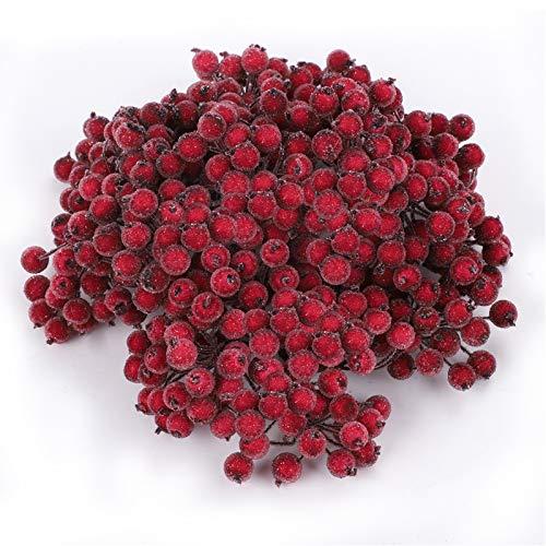 Weihnachten Beere,400 Stück Künstliche Beere Rote Weihnachten Frosted Fruit Berry Mini Weihnachtsbeere Blumentischdekoration für Weihnachtsbaumschmuck Kranzhandwerk Hochzeitsfeierbevorzugung