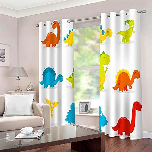 QHDIK Blickdichte Gardine mit Ösen Wärmeisoliert Netter Dinosaurier Bedruckt Gardinen Verdunklungsvorhänge für Schlafzimmer Wohnzimmer Kinder oder Babyzimmer Windows 2er Set je B140 x H245 cm