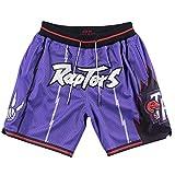 LZZQMR Pantalones Cortos de Baloncesto Raptores Bordados Malla Pantalones Cortos Sueltos para Hombre Sweet-Secking Sweetpants Swingman Jersey Purple-L