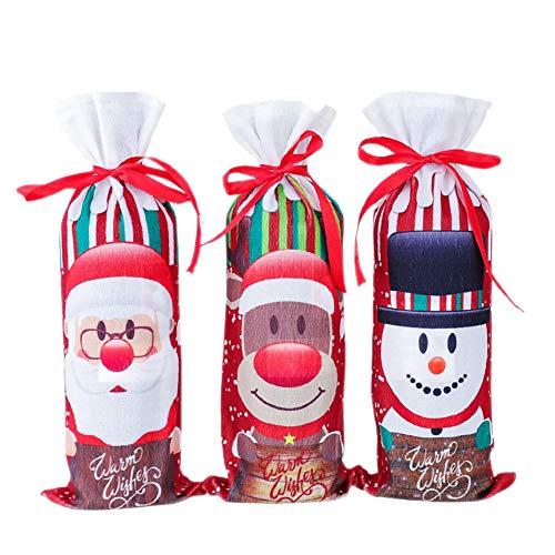 mi ji Weihnachten Weinflasche Abdeckung Zugbänder Weinflasche Abdeckungen mit Bandagen Sankt-Schneemann Elk-Flaschen-Beutel Pullover Weinflasche Kleid Sets Weihnachtsfest-Dekorationen 3Pcs