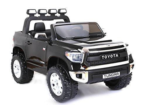 RIRICAR Toyota Tundra Elektrisches Auto für Kinder, 2.4Ghz Fernbedienung, 2 MOTOREN, Zweisitzer in Leder, Weiche Eva Räder, schwarz, MP3 USB SD, Original-Toyota-Lizenz