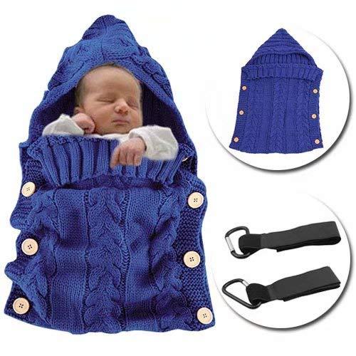 Flywill Saco de Dormir de Bebé Invierno Wrap Manta Unisexo Fotografía Prop Envuelto Manta de Algodón Punto Ganchillo Saco de Dormir Saco Silla de Paseo Cochecito Bebé 0-12 meses,Azul Real