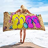 Flip Flops Beach Towel Microfiber 30x60 Extra Large Towels Oversized Soft Absorbent Dry Fast for Swimming Pool Beach Spa Towel