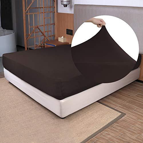 N&Y HOME Spannbettlaken für King-Size-Betten, 4-Wege-Stretch-Jersey, fühlt sich an und ist sehr weich, knitterfrei, rutschfest eng anliegend Matratzen (tief: 12,7, 33 cm), Braun, King-Size-Bett
