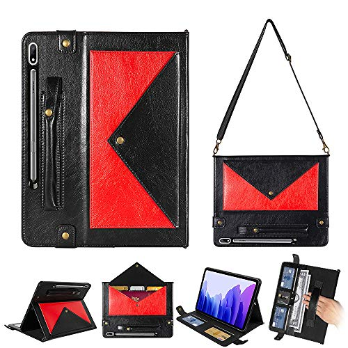 TechCode Bolso para Samsung Tab S7, Funda Protectora de Cuero de PU con Soporte para bolígrafo/Ranura para Tarjeta/Bandolera con Correa de Mano para Samsung Tab S7 11 Pulgadas SM-T870/ T875, Rojo1