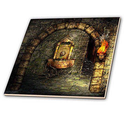 3dRose ct_11908_3 EIN mittelalterliches Zimmer verfügt über einen verzauberten Brunnen als Fackel, brennt in der Nähe von Keramikfliesen, 20,3 cm