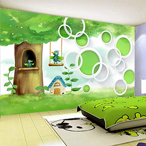 Sijoo Fototapete 3D Cartoon Kinder grünen Baum Vogel Wandbild Tapete, Kinderzimmer, Kinderzimmer Umwelt Vlies Papel De Parede