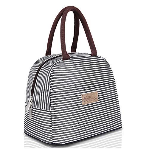 HOMESPON Isolierte Lunch Tasche Cool Bag für Lunch Boxes Gestreiftes Wasserdichtes Gewebe Faltbare Picknick-Handtasche für Frauen, Erwachsene, Studenten und Kinder