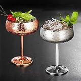 Lot de 2 flûtes en métal incassables - Verres à vin blanc et rouge - Verres à cocktail - Verres à jus de fruits ou de champagne - Verres de bar (450 m, or rose + argent)