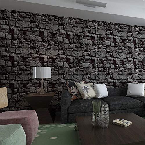 LZHui Tapete 3D Grey Brick Wallpaper Vliestapete für Schlafzimmer Wohnzimmer TV Hintergrund Küche Home Office Tapete