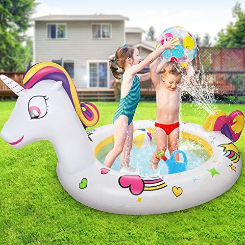 Jojoin Unicorno Piscina Bambini, 230 * 126 * 106 cm Piscina Gonfiabile with Con Acqua Nebulizzata Coda Bellissimi Motivi , Regalo Educativo Bambini 3+