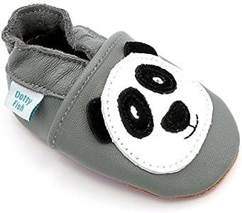 Dotty Fish Zapatos de Cuero Suave para bebés. Antideslizante. Panda Gris. 12-18 Meses (21 EU)
