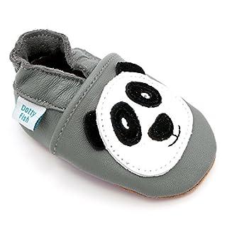 scheda dotty fish scarpine in pelle prima infanzia. scarpe bimbi per primi passi con suola scamosciata. grigio con panda nero e bianco. 12-18 mesi (21 eu)